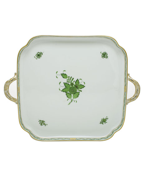 Herend Chinese Bouquet Green Square Tray with Handles