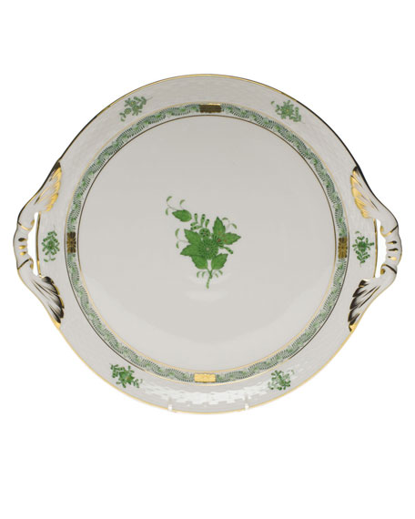 Herend Chinese Bouquet Green Round Tray with Handles