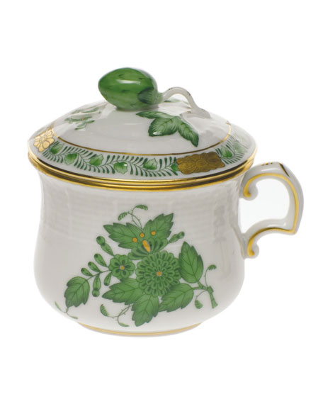 Herend Chinese Bouquet Green Pot de Creme with Berry