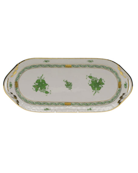 Herend Chinese Bouquet Green Sandwich Tray