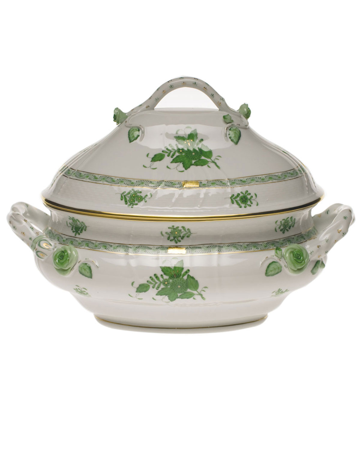 Herend Chinese Bouquet Green Tureen with Branch Handle