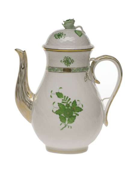 Herend Chinese Bouquet Green Coffee Pot with Rose