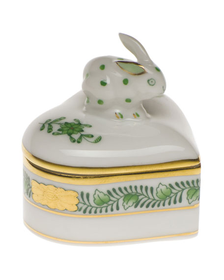 Herend Chinese Bouquet Green Heart Box with Bunny