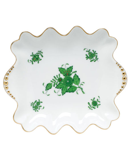 Herend Chinese Bouquet Green Small Dish with Pearly Handles