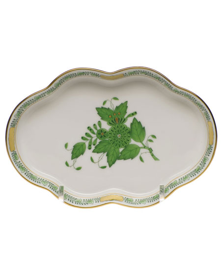 Herend Chinese Bouquet Green Small Scalloped Tray
