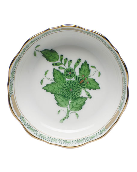 Herend Chinese Bouquet Mini Scalloped Dish - Green