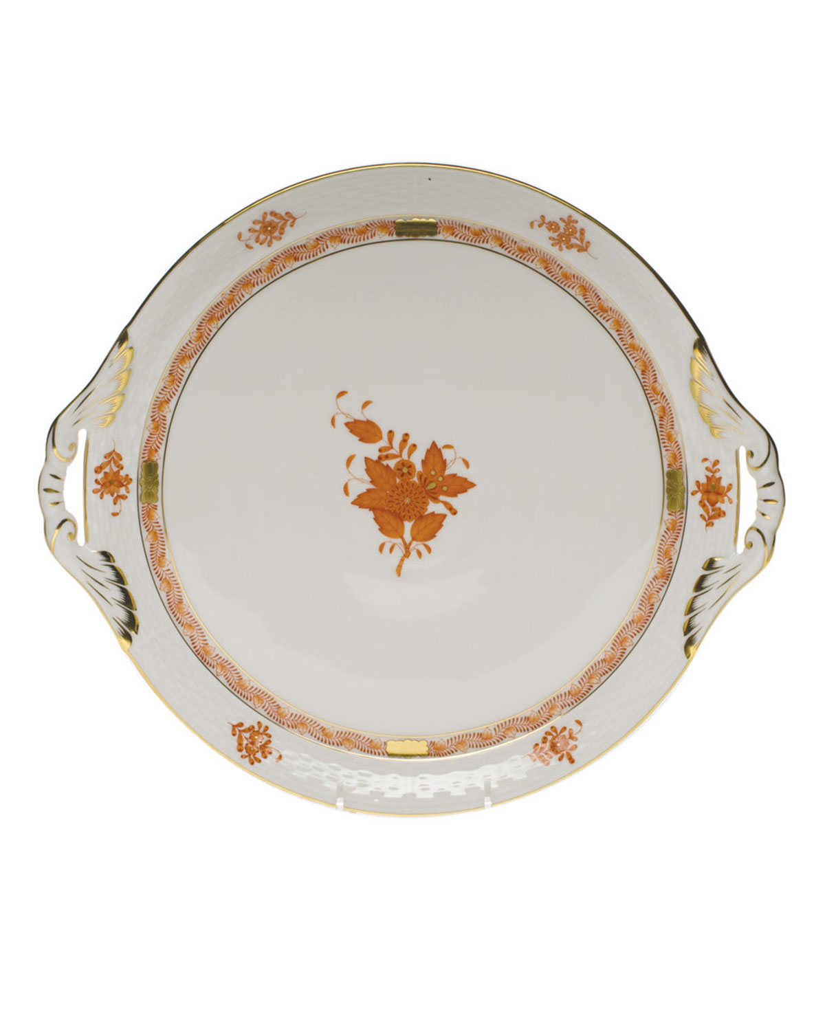 Herend Chinese Boutique Rust Round Tray with Handles