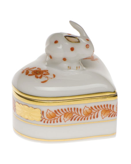 Herend Chinese Boutique Rust Heart Box with Bunny