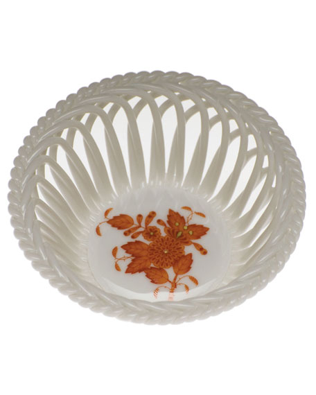 Herend Chinese Boutique Rust Small Openwork Basket