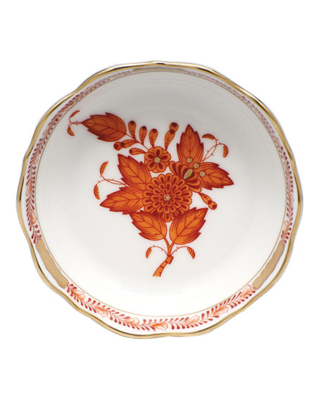 Herend Chinese Bouquet Mini Scalloped Dish - Rust