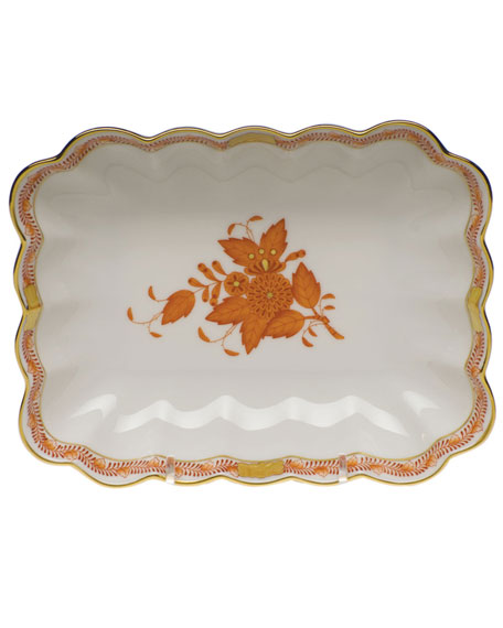Herend Chinese Bouquet Oblong Dish - Rust