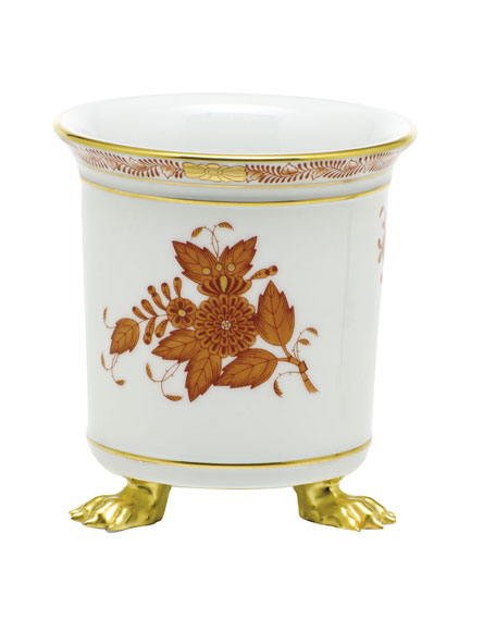 Herend Chinese Boutique Rust Mini Cache Pot with Feet