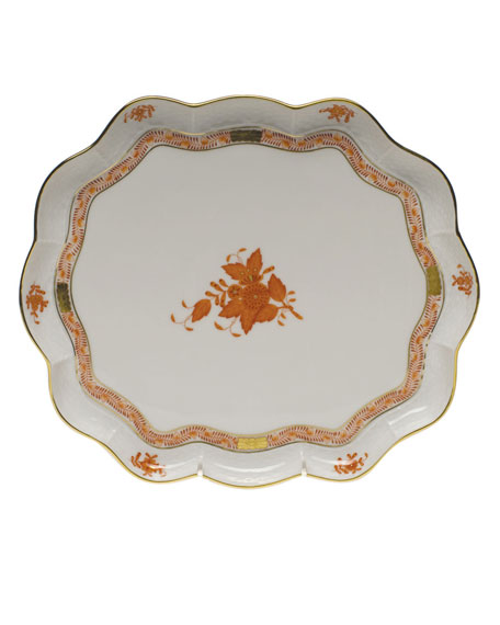 Herend Chinese Boutique Rust Scalloped Tray