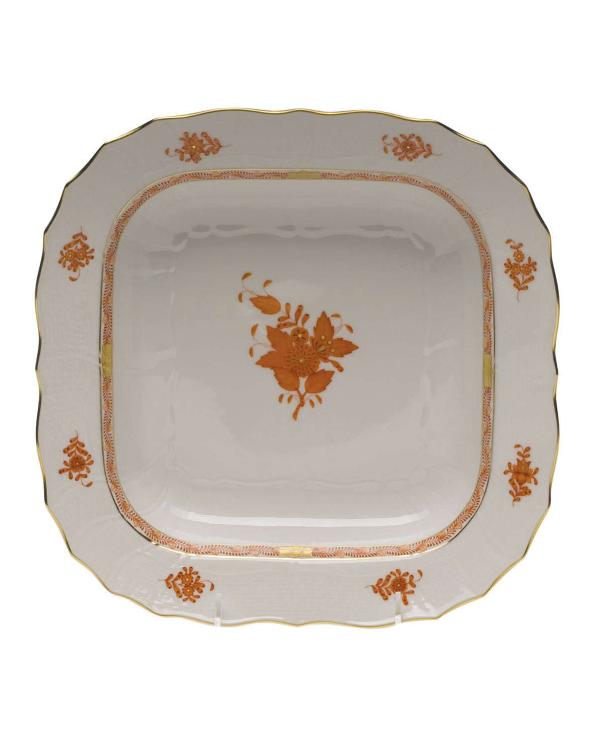 Herend Chinese Boutique Rust Square Fruit Dish