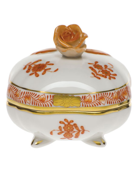 Herend Chinese Boutique Rust Covered Bonbon with Rose