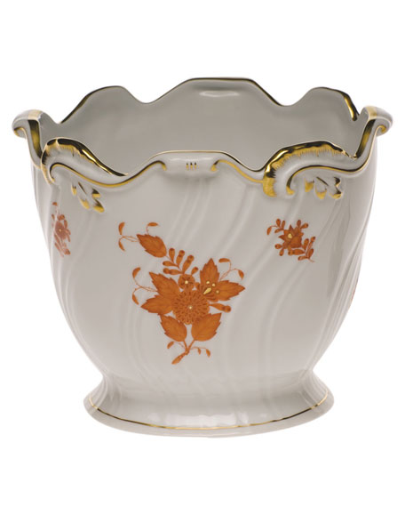 Herend Chinese Boutique Rust Ribbed Cache Pot