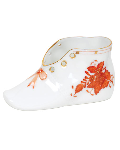 Herend Chinese Boutique Rust Porcelain Baby Shoe Keepsake