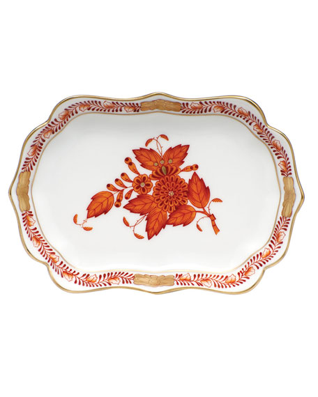 Herend Chinese Bouquet Mini Scalloped Tray - Rust
