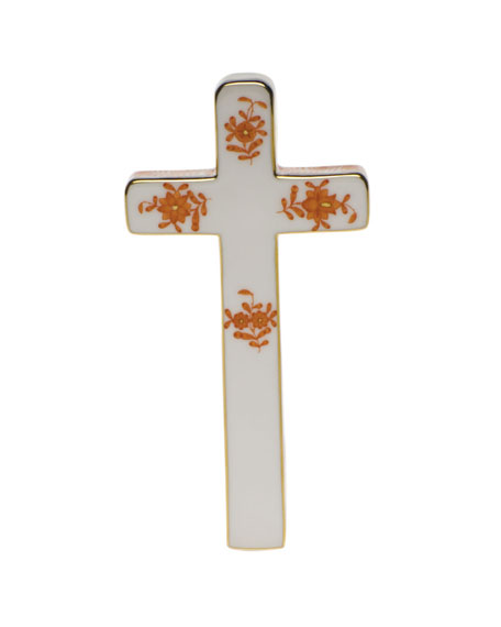 Herend Chinese Bouquet Decorative Porcelain Cross - Rust