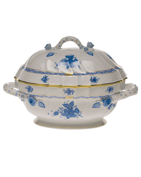 Herend Chinese Bouquet Blue Tureen with Branch Handle