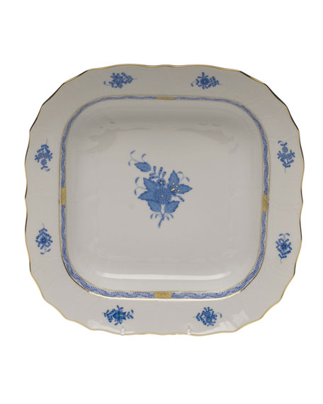 Herend Chinese Bouquet Blue Square Fruit Dish