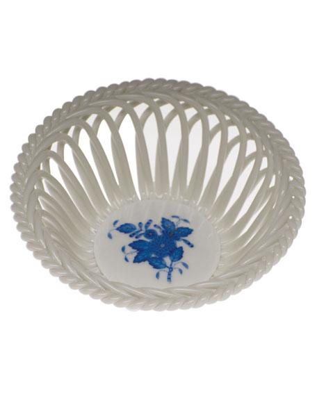 Herend Chinese Bouquet Blue Medium Openwork Basket