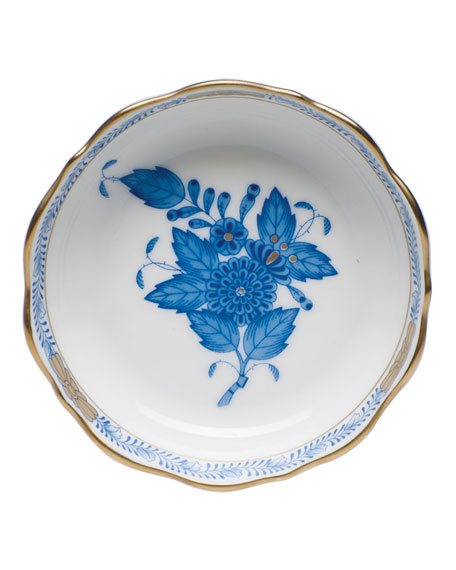 Herend Chinese Bouquet Mini Scalloped Dish - Blue