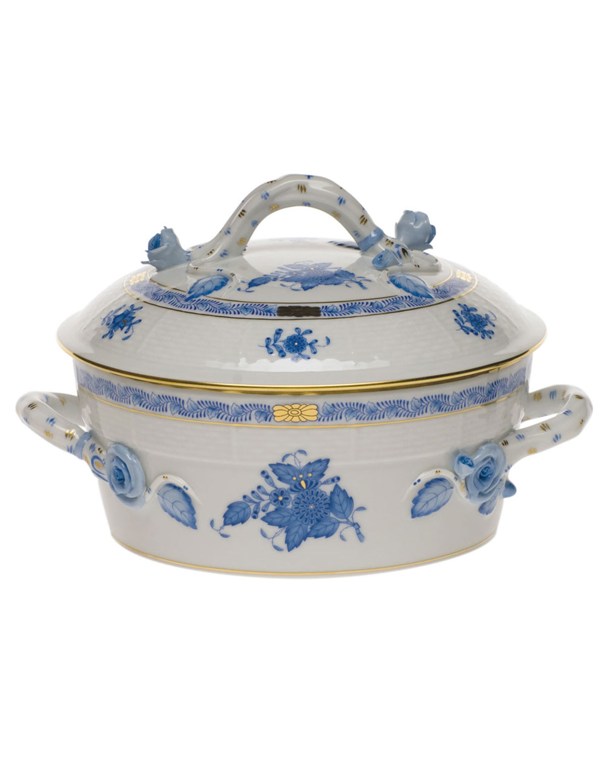 Herend Chinese Bouquet Blue Small Covered Vegetable Dish with Branch Handle