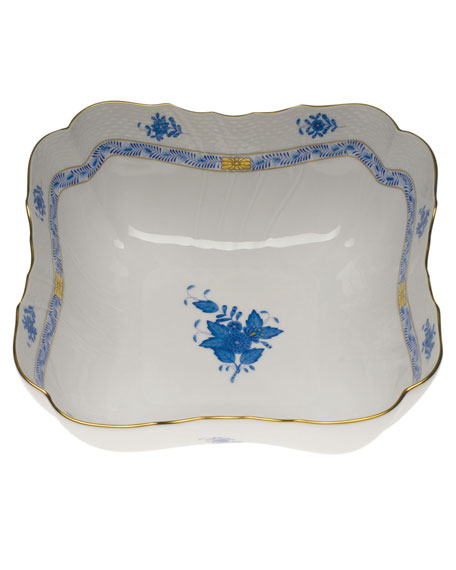 Herend Chinese Bouquet Blue Square Salad Bowl
