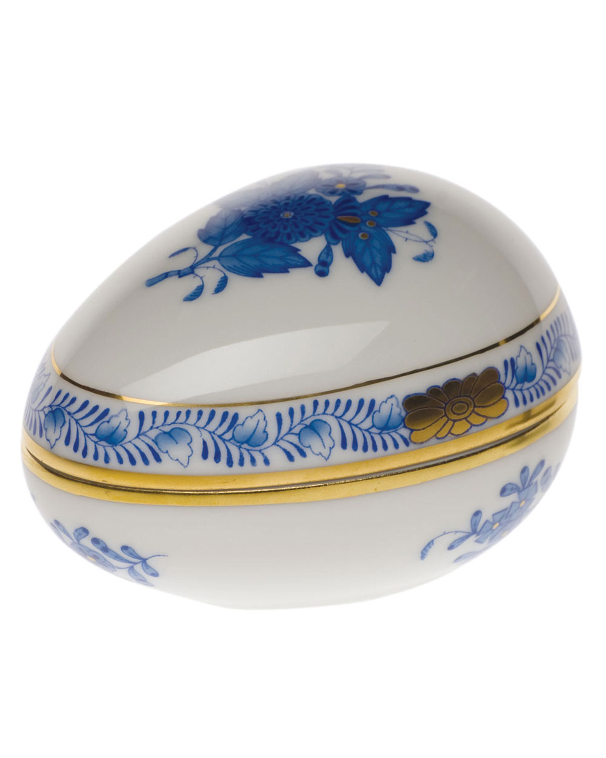 Herend Chinese Bouquet Blue Egg Bonbon