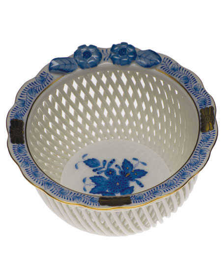 Herend Chinese Bouquet Blue Openwork Basket with Flowers