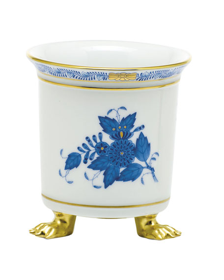 Herend Chinese Bouquet Blue Mini Cache Pot with Feet