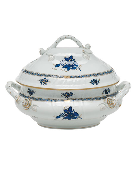 Herend Chinese Bouquet Black Sapphire Tureen with Branch Handle
