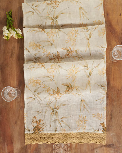 Bamboo Garden Linen Table Runner