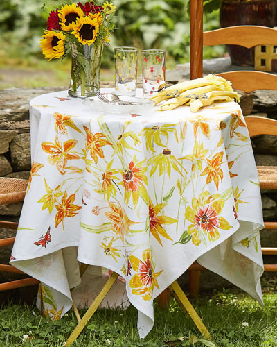 Black-Eyed Susan Watercolor Dining Tablecloth
