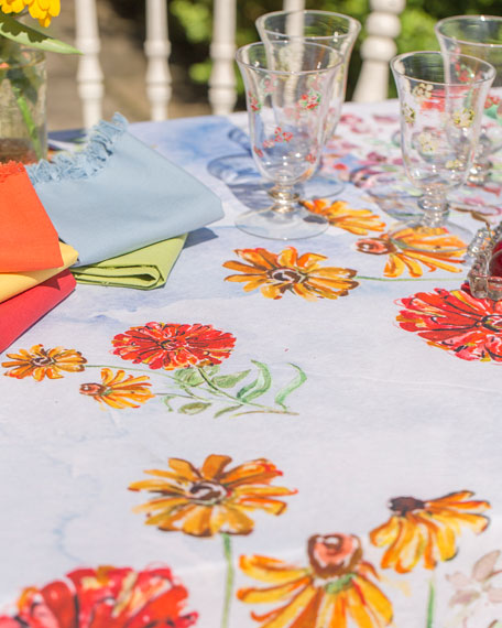 April Cornell Zinnia Watercolor Dining Tablecloth