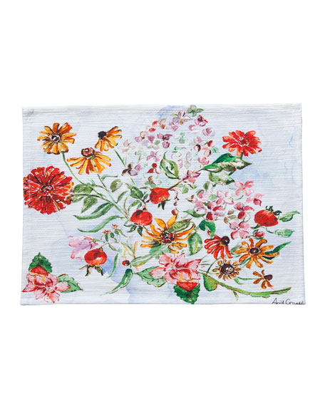 April Cornell Zinnia Watercolor Placemats, Set of Four