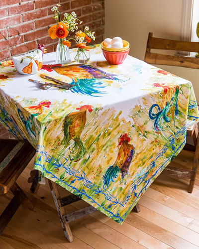 Watercolor Rooster Dining Tablecloth