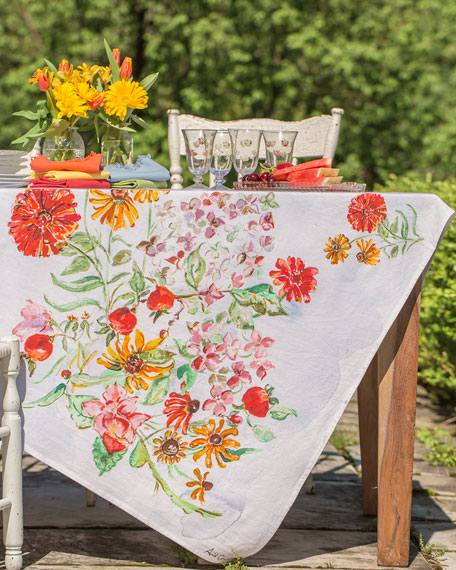April Cornell Zinnia Watercolor Breakfast Tablecloth