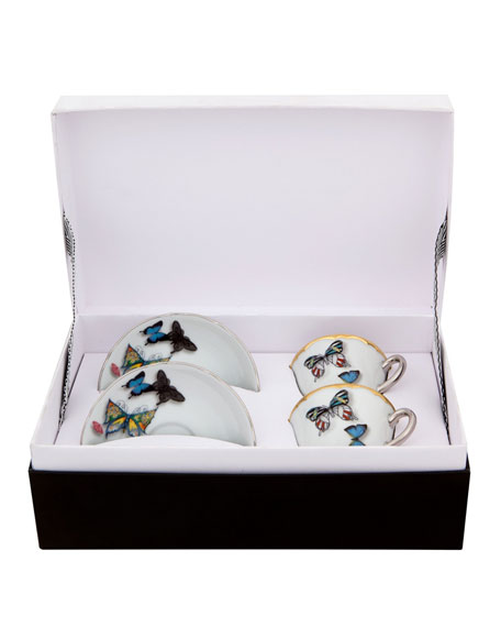 Christian Lacroix Butterfly Parade Espresso/Coffee Cups & Saucers, Set of 2