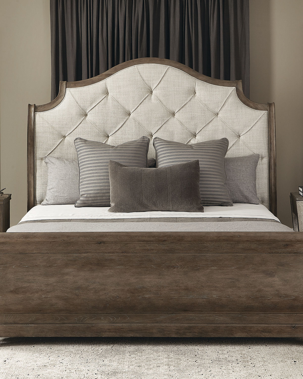 Bernhardt Rustic Patina Button Tufted Sleigh Bed Queen Neiman Marcus