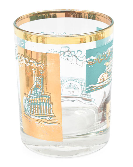 Devonia Antiques Turquoise/Gold Double Old Fashioned Glasses, Set of 8