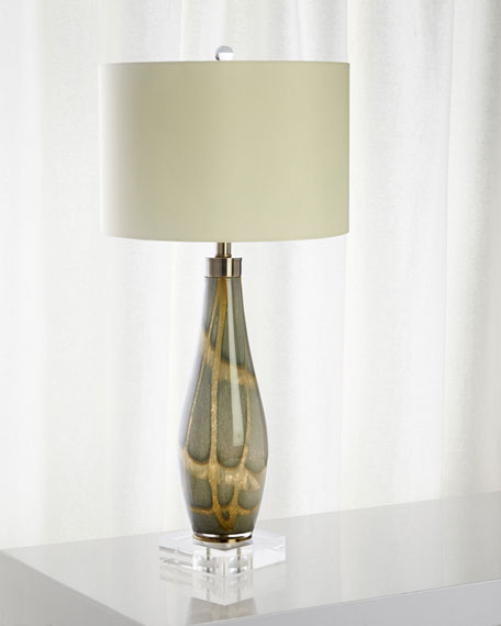 Green & Gold Glass Lamp