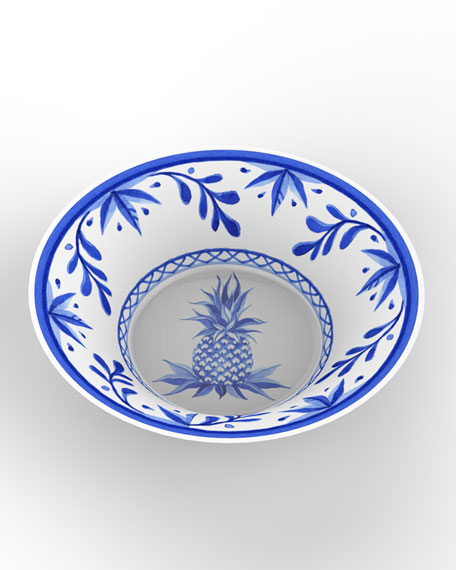 Bamboo Table Blue Pineapple Bamboo Cereal Bowls, Set of 4