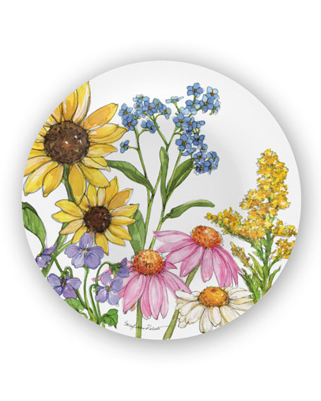 Bamboo Table Wildflowers Bamboo Salad Plates, Set of 4