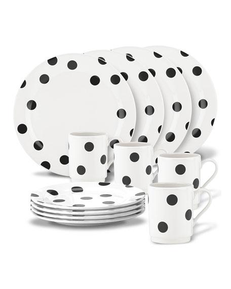 kate spade new york deco dot   12-piece dinnerware set
