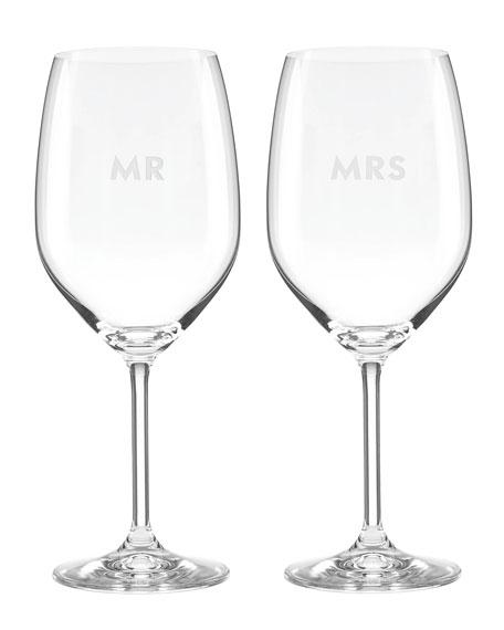 kate spade new york darling point mr. & mrs. stemmed red wine glass