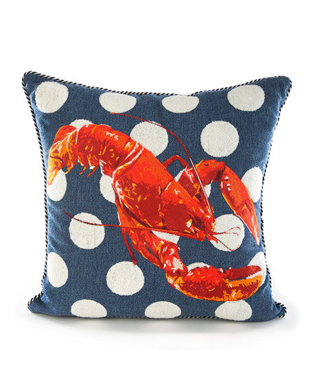 Image 1 of 2: MacKenzie-Childs Lobster Outdoor Accent Pillow