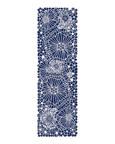 Blueberries and Cream Floral Runner, 2.5' x 8'