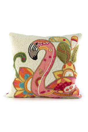 MacKenzie-Childs Groovy Flamingo Pillow